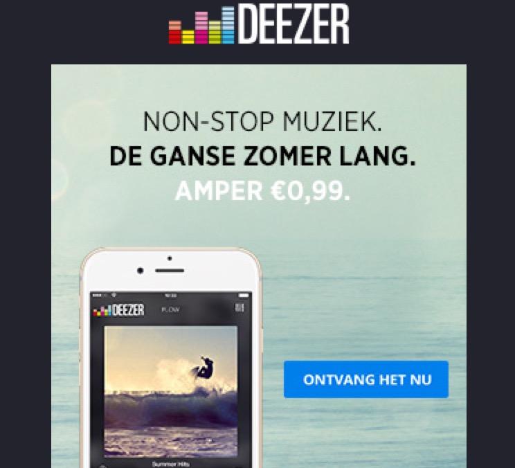 3 maanden Deezer Premium voor 0,99