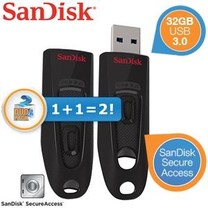 2 Sandisk USB 3.0-sticks (32GB) voor €24,90 @ iBOOD