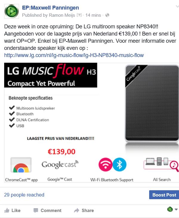 LG-NP8340 €139 bij EP-Maxwell Panningen