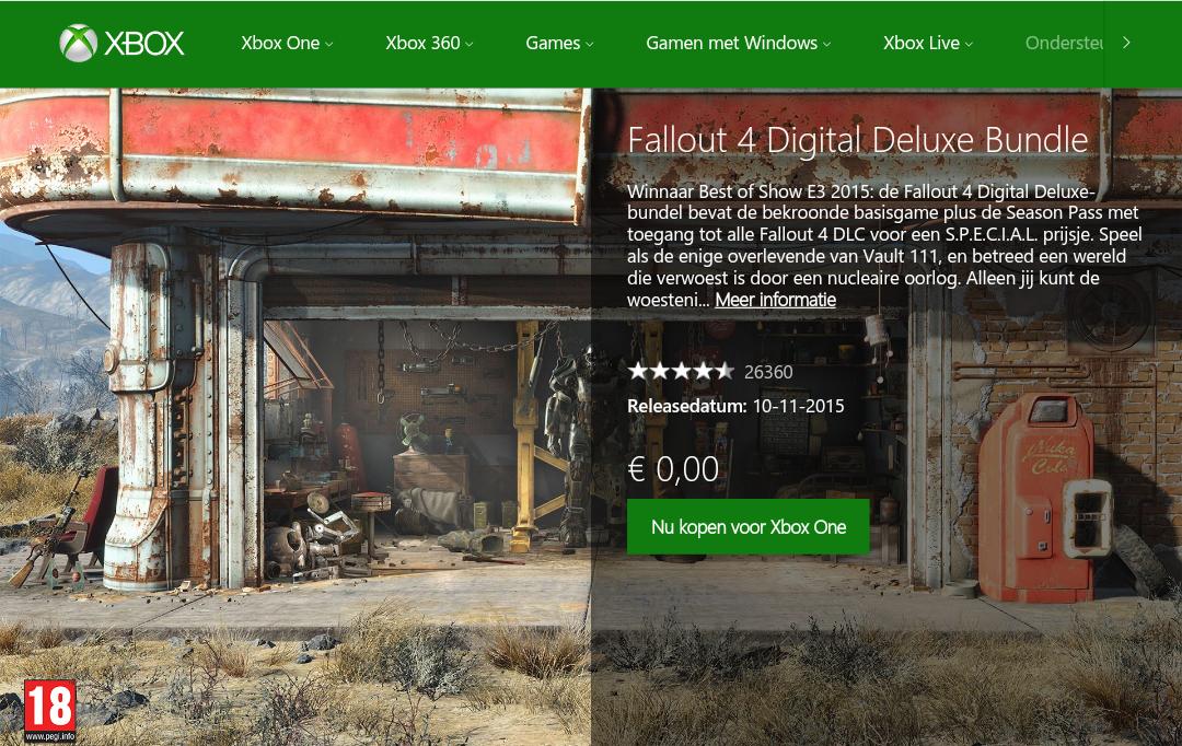[PRIJSFOUT] Fallout 4 en alle DLC (Xbox One) voor €0 (gratis) @ Xbox Store