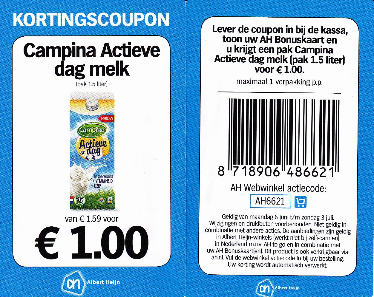 37% korting op Campina Actieve dag melk, pak 1,5 Ltr @ Albert Heijn