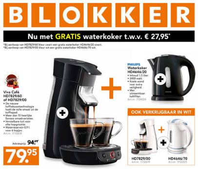 Gratis Philips waterkoker bij Senseo Viva Cafe wit of zwart @ Blokker