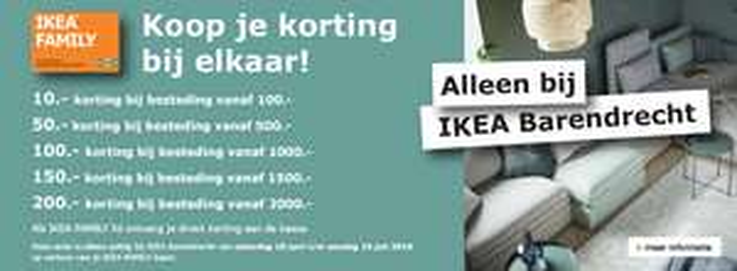 Tot 10% korting op alles bij IKEA Barendrecht (min. besteding €100; max. korting €200)