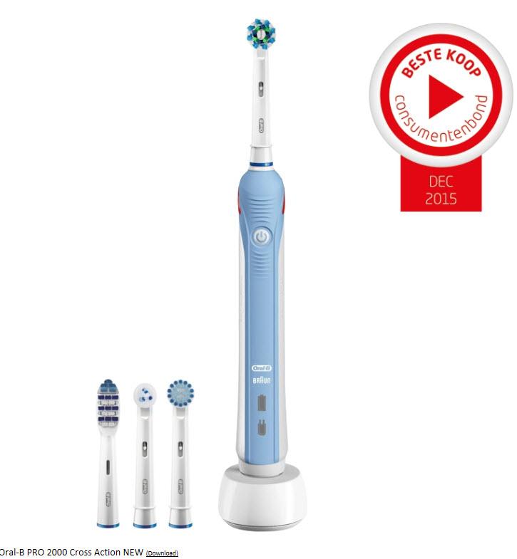 [UPDATE] Oral-B Pro 2000 Electrische Tandenborstel Cross Action incl. 4 opzetborstels @ Tandenborstel.com