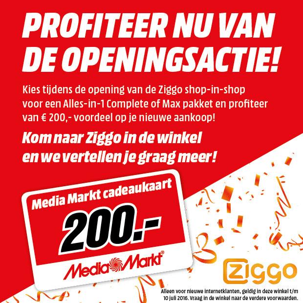€200 aan cadeaukaart bij All-in-one Ziggo @ Media Markt