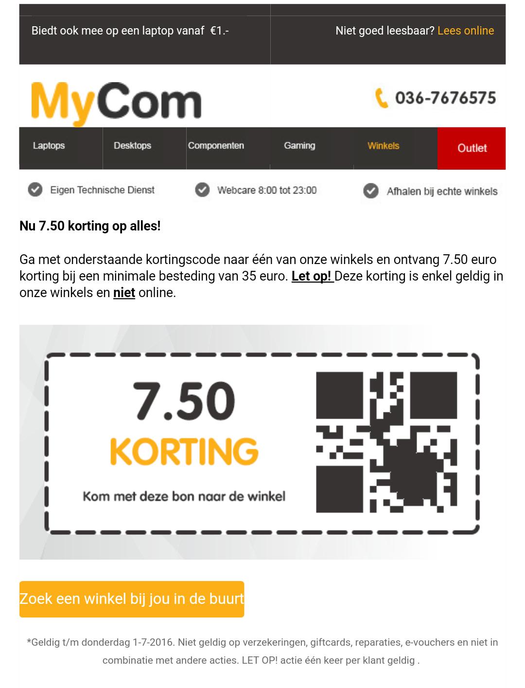 €7,50 korting vanaf €35 bij alle Mycom Winkels