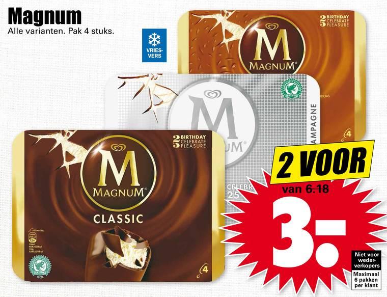 2 pakken Magnum voor €3 @ Dirk / Dekamarkt