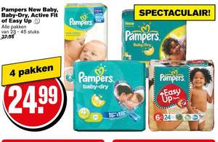 4 pakken Pampers voor €24,99 @ Hoogvliet