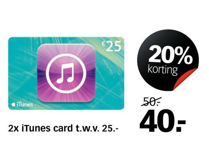 2 iTunes kaarten van €25 voor €40 @ Dixons