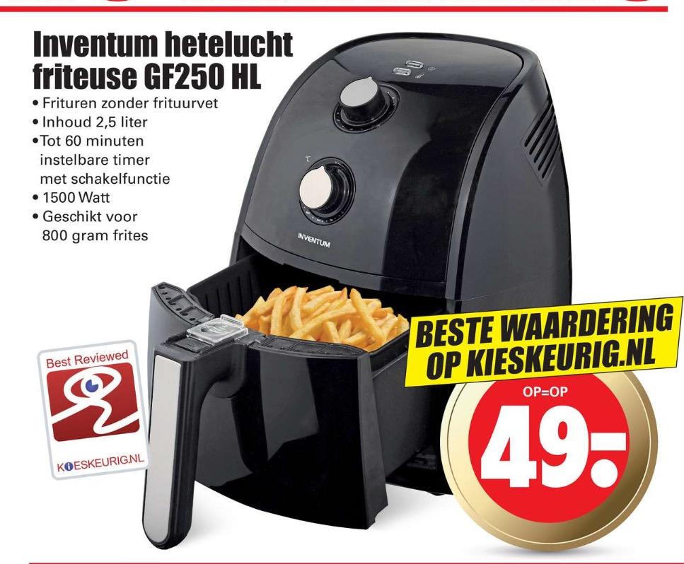 Inventum hetelucht friteuse GF250HL voor €49 @ Dirk