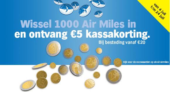 Ontvang € 5,-  kassakorting als je 1000 Air Miles inwisselt @ Albert Heijn