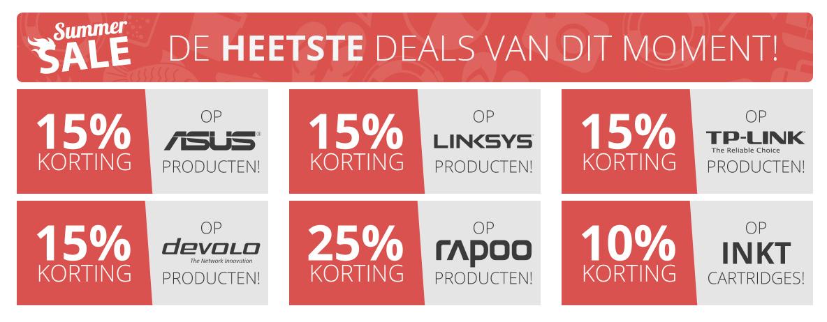 Bij Paradigit 10% tot 25% korting op producten van  ASUS, Linksys, TP-Link devolo en Rapoo