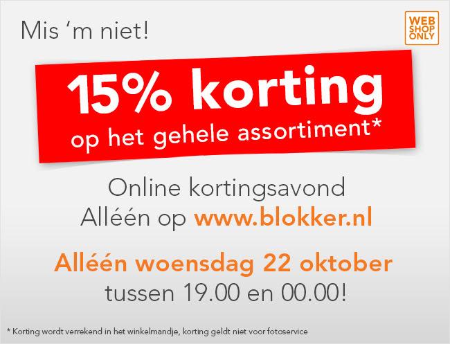 15% korting op alles vanavond @ Blokker.nl