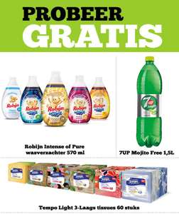 Probeer gratis: Robijn, 7UP Mojito en Tempo light tissues