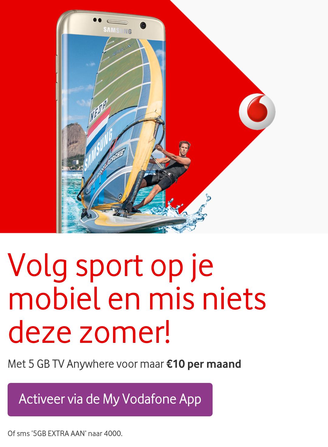 5 GB TV Anywhere voor €10 per maand @ Vodafone