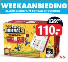 Nintendo 2DS (wit/rood) + New Super Mario Bros 2 voor €110 @ Bart Smit