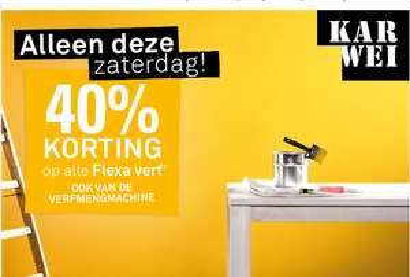 40% korting op alle Flexa* verf (Alleen deze zaterdag) @ Karwei