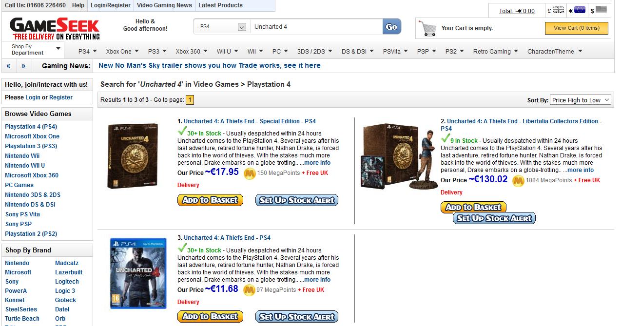 [PRIJSFOUT] Veel goedkope games (o.a. Uncharted 4 - €11,68) @ Gameseek
