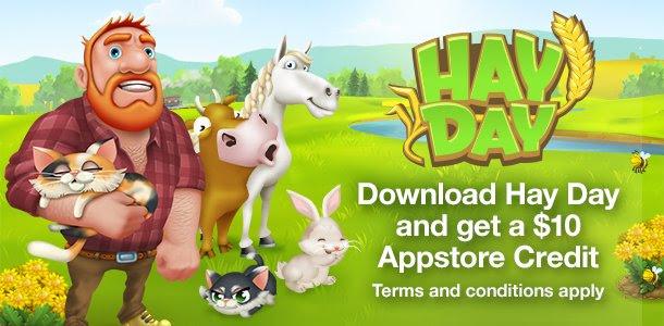 Gratis $10 appstore credit door het downloaden van Hay Day @ Amazon.com