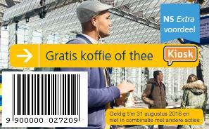 gratis warme drank bij KIOSK (NS retail)