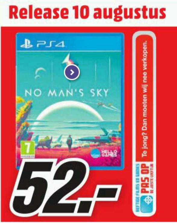 Vanaf morgen No Man's Sky PS4 voor € 52 bij Mediamarkt