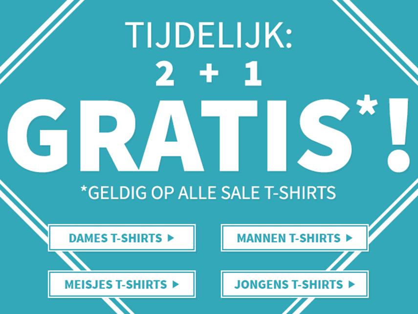 SALE T-shirts 2 + 1 gratis // shorts 2e halve prijs (ook sale) @ Coolcat