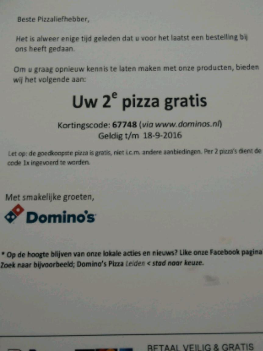 2e pizza gratis met code @ domino's