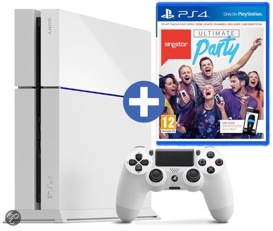 PlayStation 4 Console 500 GB Wit (glacier white) + Singstar: Ultimate Party voor €399 bij Bol.com