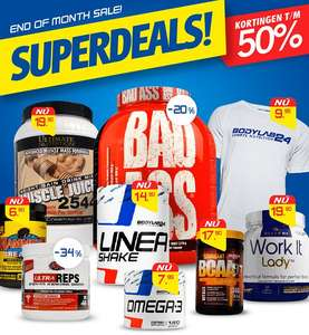 End of the month superdales korting tot 50% OP=OP @ Bodylab