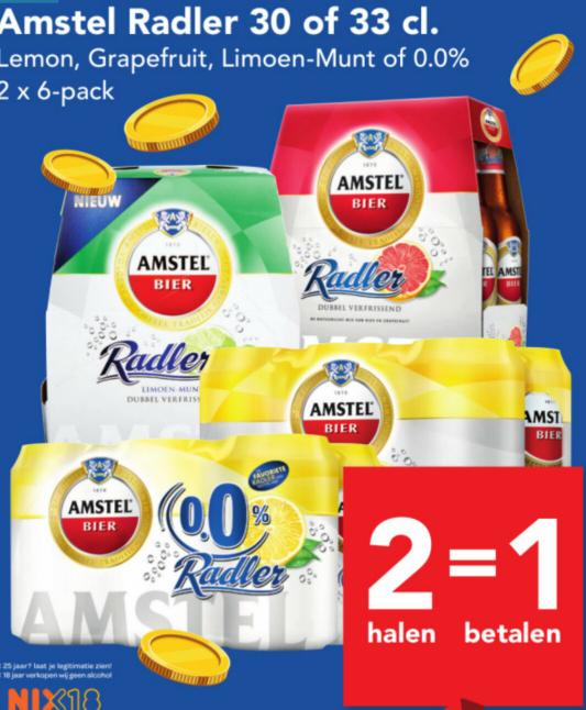 2 halen = 1 betalen Amstel of Wiekse Radler @ Deen (niet online)