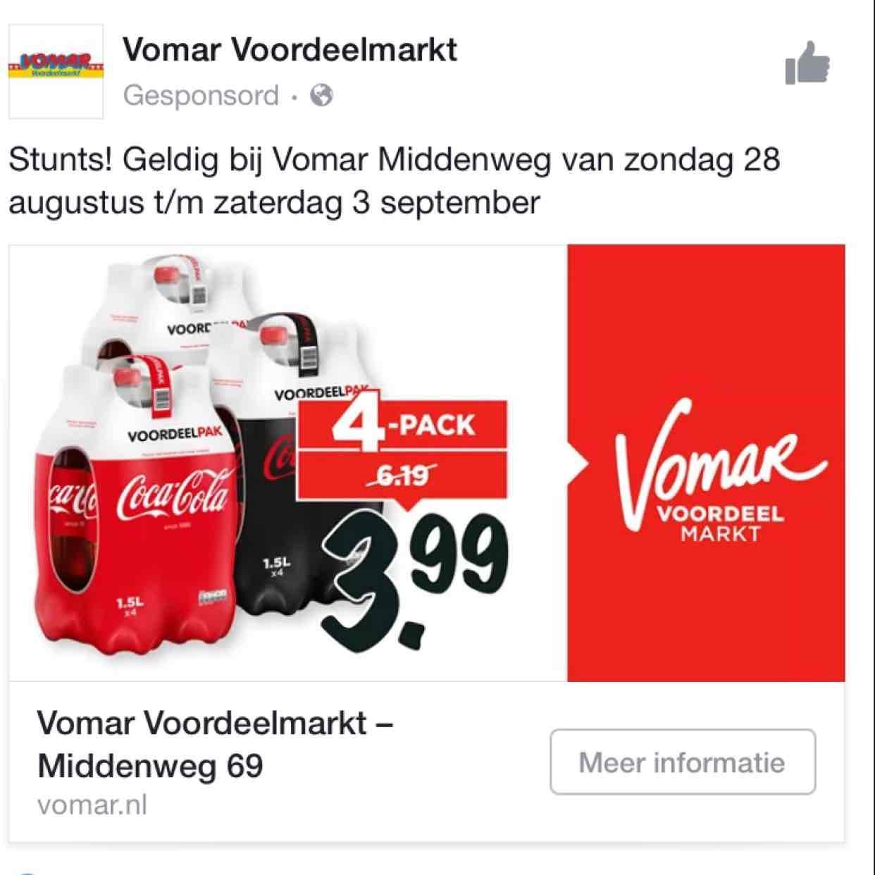 Coca Cola €1,- per fles @ Vomar Amsterdam