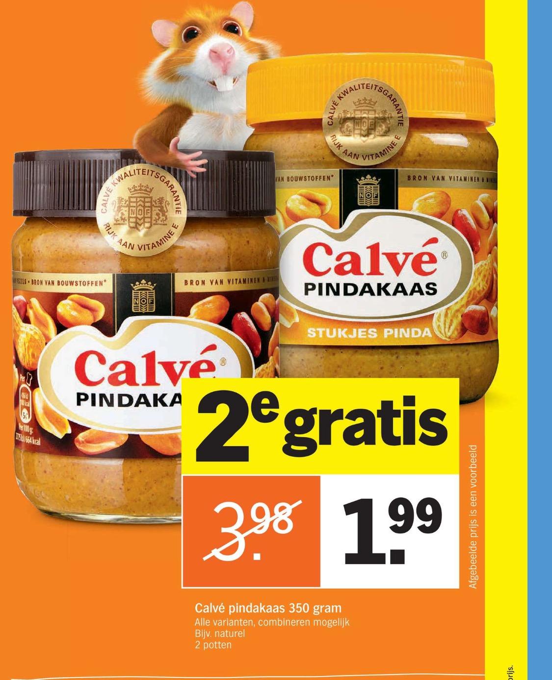 Calvé pindakaas 2 potten a 350gr €1,99 @ AH
