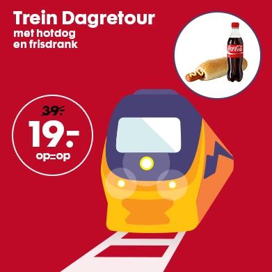 Trein Dagretour + HEMA hotdog en frisdrank voor €19