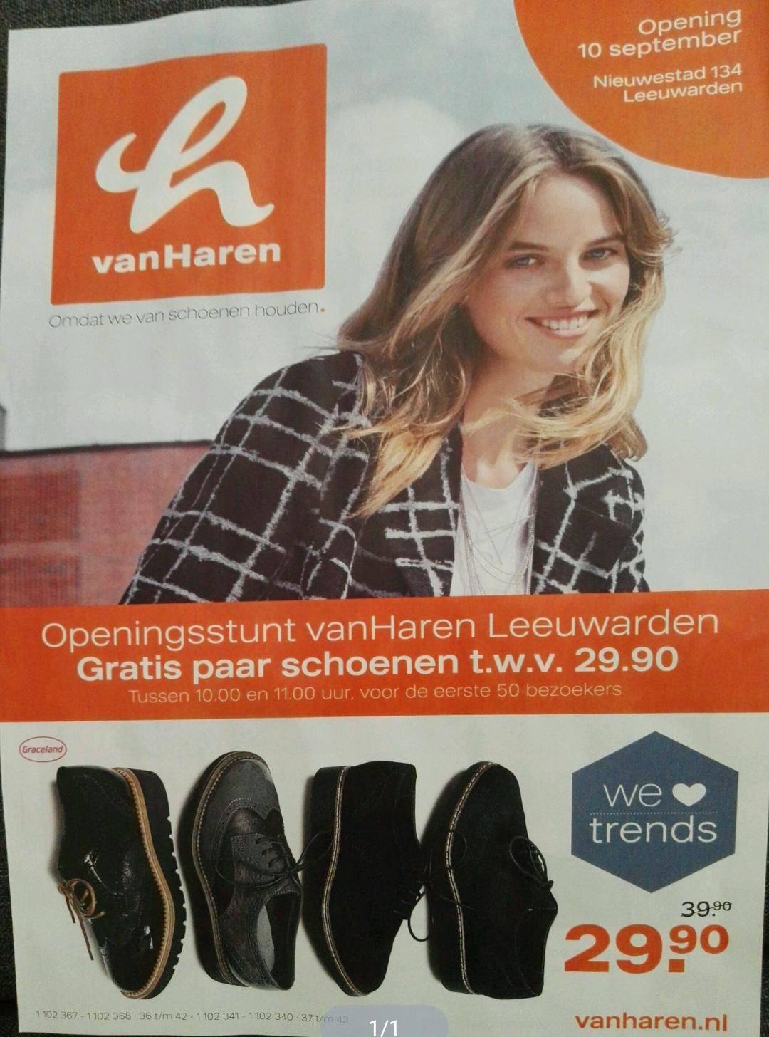 Vanaf zaterdag gratis paar schoenen t.w.v. €29,90 (50 klanten) @ vanHaren Leeuwarden