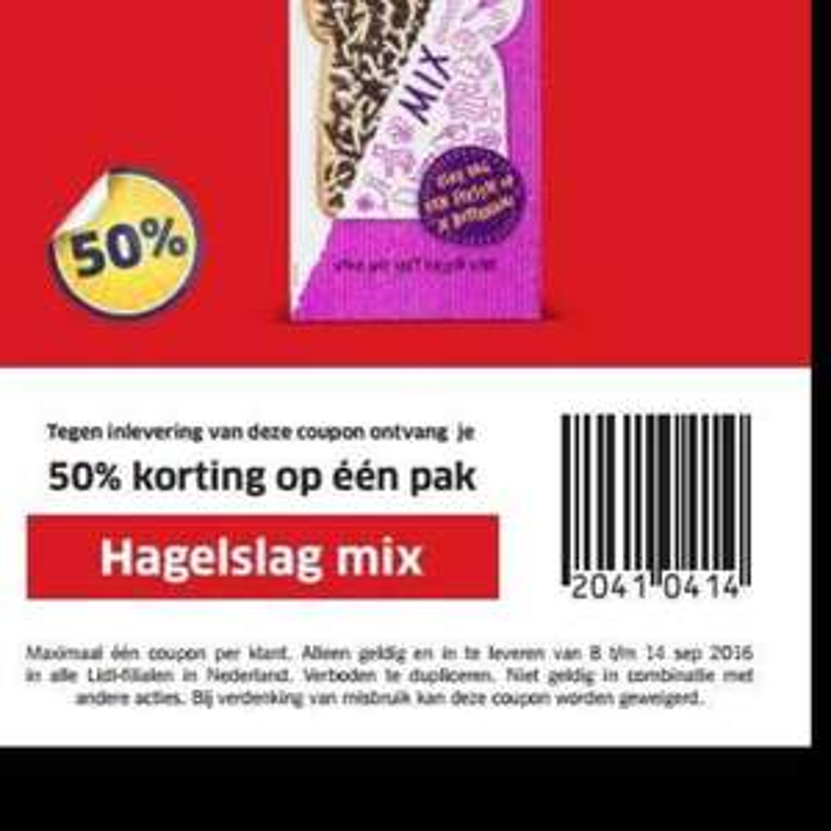 Lidl hagelslag mix 50% korting