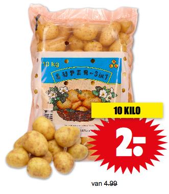 10 kilo aardappelen voor 2,- bij Dirk!