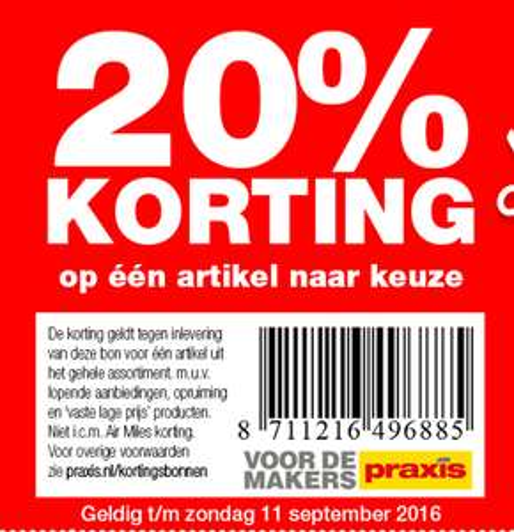 20% korting t/m zondag 11 sept @ Praxis