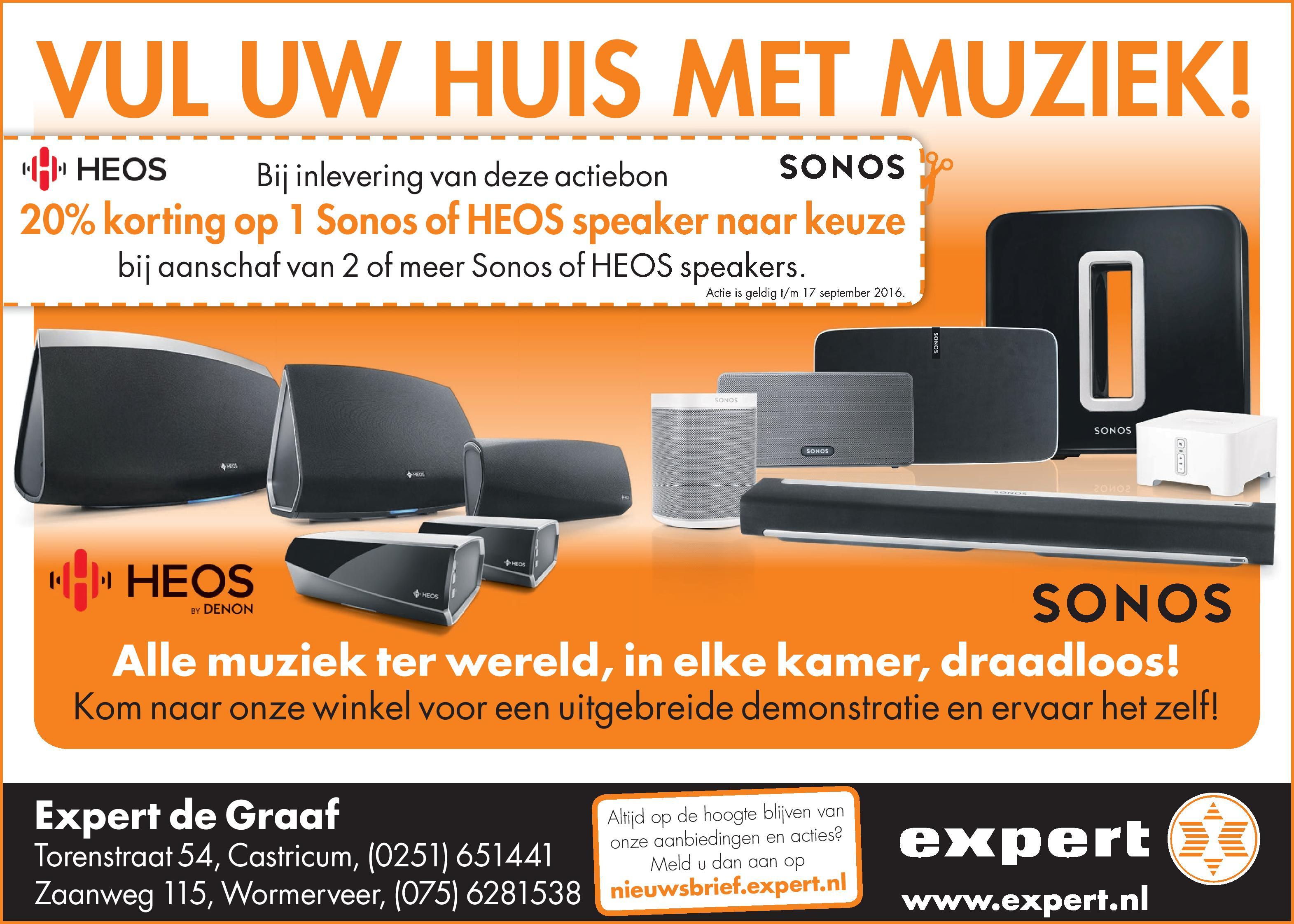 20% korting op Sonos/HEOS speaker bij aankoop van 2 speakers