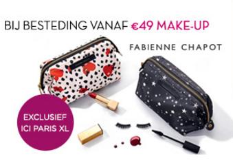 Gratis Fabienne Chapot Beauty bag t.w.v. €49 bij aankoop van een make-up product (geen min. besteding) @ ICI Paris XL