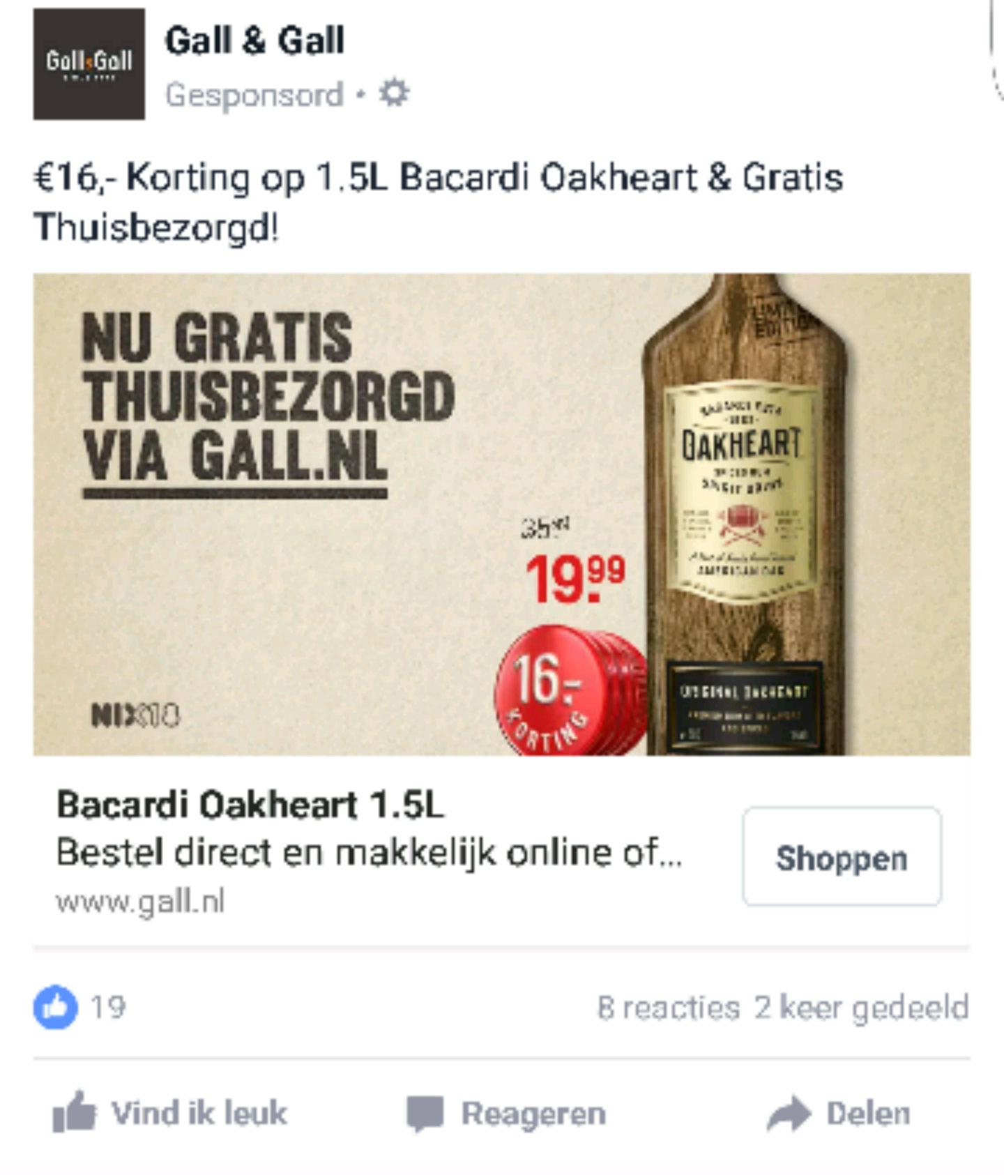 1.5 liter Bacardi Oakheart inclusief verzending voor 19.99 euro