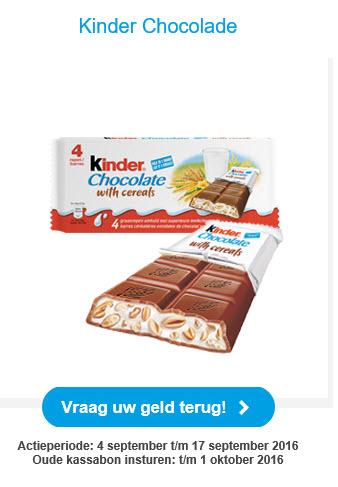 Gratis Kinder chocolade (cashback) @ Deen
