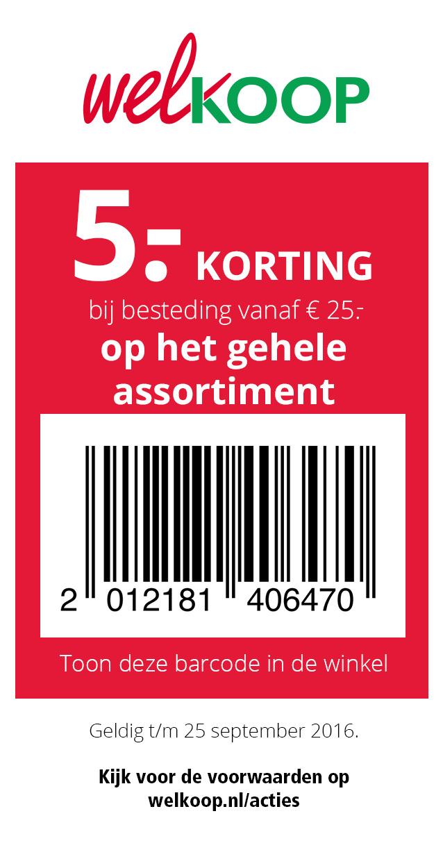 Kortingsbon voor €5 korting (min. €25) @ Welkoop winkels