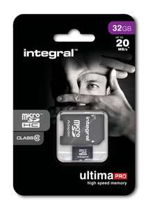 Integral UltimaPro microSDHC 32GB Class 10 + SD adapter door code voor €11.09 @ Mymemory