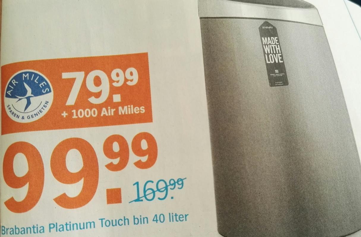 Brabantia Touch Bin 40 liter voor €99,99 (€79,99 + 1000 air miles) @ AH