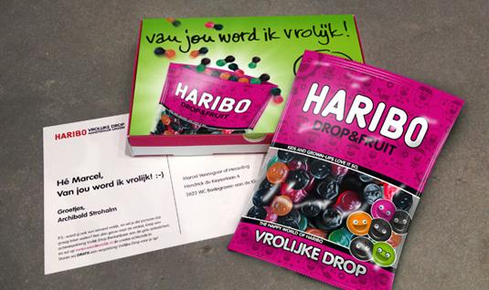 Gratis zakje Vrolijke Drop Drop&Fruit thuisgestuurd na aankoop actieverpakking Haribo drop