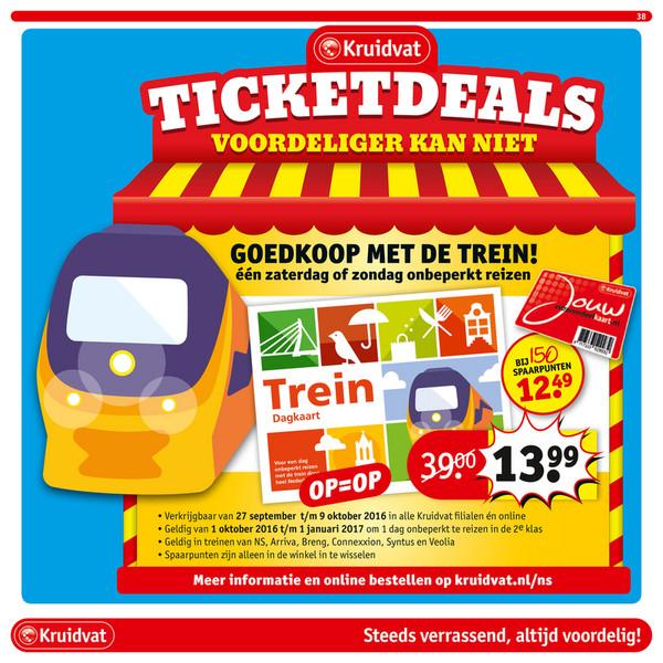 Trein dagkaart voor in het weekend € 13,99 of € 12,49* @ kruidvat