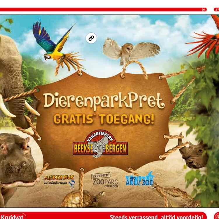 gratis kaartje voor een dierenpark bij aankoop van 2 producten @ Kruidvat