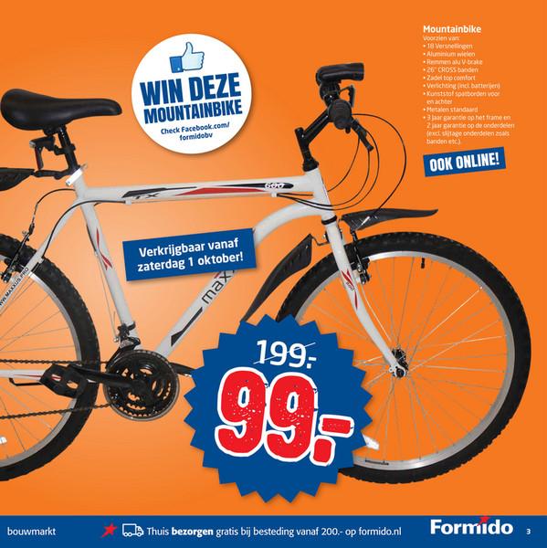 Heren Mountainbike met 18 versnellingen voor €99 @ Formido (vanaf za 1 oktober)