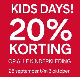 Op alle kids- en babykleding 20% korting @ C&A