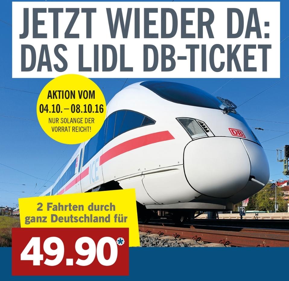 2 treinritten in Duitsland (ook ICE) voor €49,90 @ Lidl